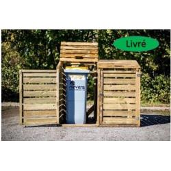 Cache poubelle bois autoclavé double