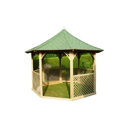 Pavillon octogonal avec treillis anglais