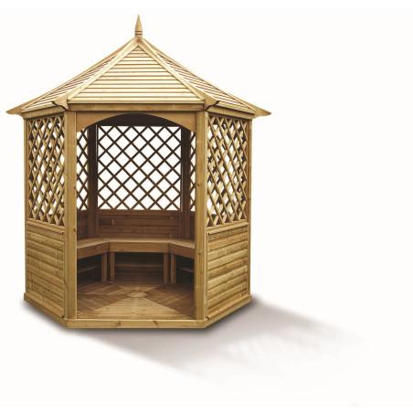 Pavillon hexagonal élégant toiture bois 7,30 m2