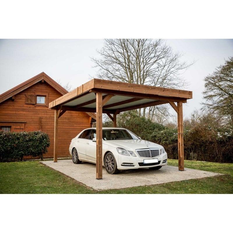 auvent thones toit plat 3 00 x 3 60 m bac acier. Black Bedroom Furniture Sets. Home Design Ideas