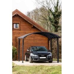 Carport ALUMINIUM toit 1/2 rond coloris gris anthracite
