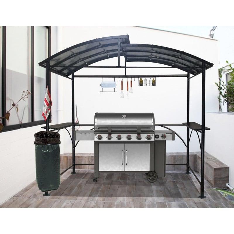 Carport barbecue autoportant à double toit