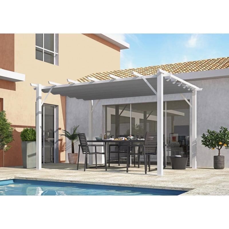 Pergola 100 % aluminium structure blanc 4x3m
