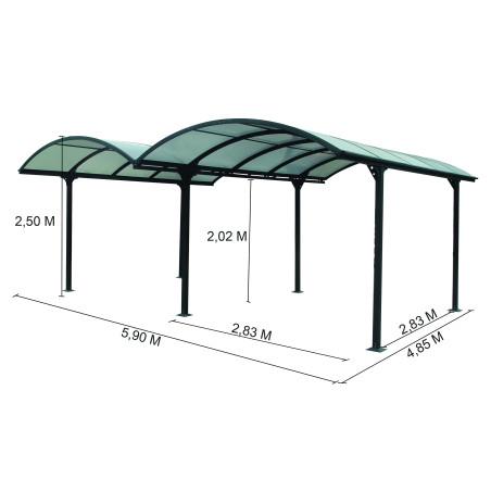 Double Carport ALUMINIUM toit 1/2 rond