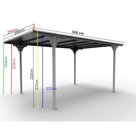 Carport toit plat 2.94x5m